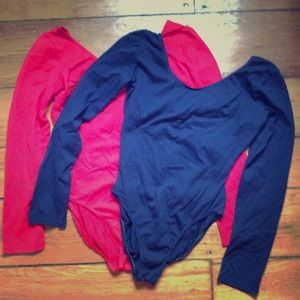 Red and blue  long sleeve bodysuits